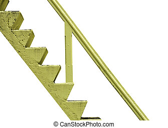fait, vieux, escalier, jaune, arrière-plan., ciment, blanc