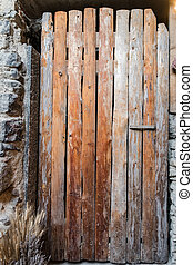 fait, vieux, wood., porte, rugueux, planches