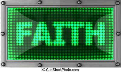 faith announcement on the LED display