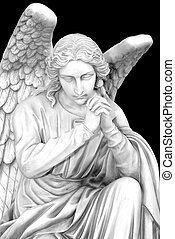 Cemetery angel with hands clasped