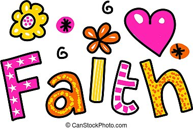 Faith Clip Art - Hand drawn and coloured whimsical cartoon...