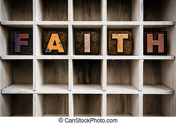 Faith Concept Wooden Letterpress Type in Draw