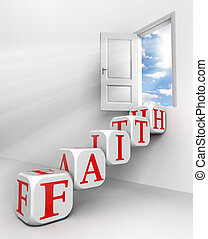 faith red word conceptual door with sky and box ladder in white room metaphor