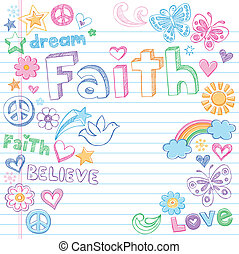 Faith & Dove Sketchy Doodles Vector - Faith Hand Drawn Back...