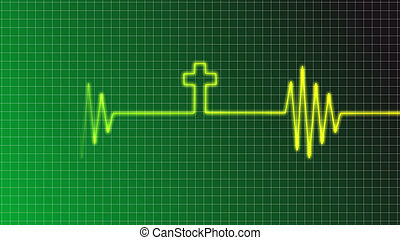 ecg curve with christian cross