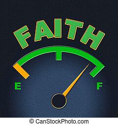Faith Gauge Shows Scale Religious And Indicator - Faith...