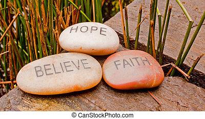 faith, hope, believe stones.