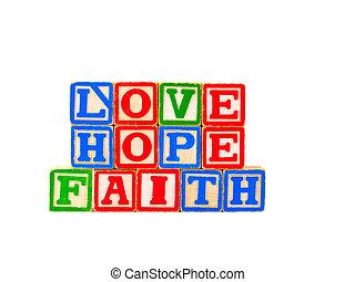 Faith, Hope, Love Letter Blocks 1