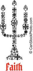 Faith icon. Religious chuch candle symbol