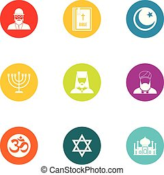 Faith icons set, flat style - Faith icons set. Flat set of 9...