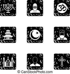Faith icons set, grunge style