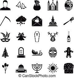 Faith icons set, simple style - Faith icons set. Simple set...