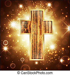 Faith in God: Cross Over Bright Shiny Background
