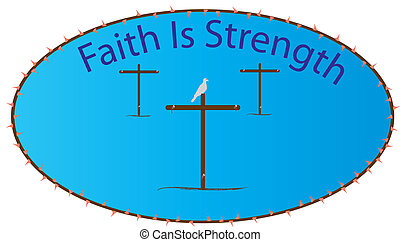 A depiction of the cross and sacrifice that was made on it. Through the resurrection and Faith in Jesus Christ strength can be had through the Holy Spirit.