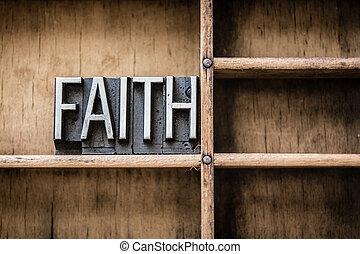 Faith Letterpress Type in Drawer
