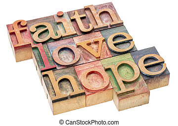faith, love and hope word abstract