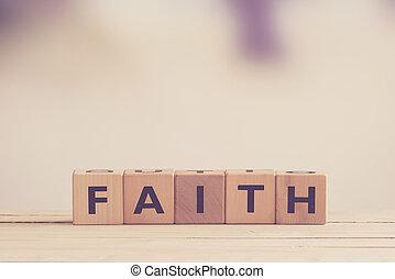 Faith sign made of wood