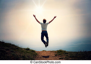 faith., uno, uomo, con, suo, mani in alto, in, il, cielo