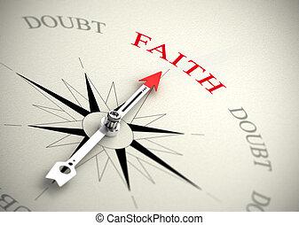 Faith versus doubt, religion or confidence concept - Compass...