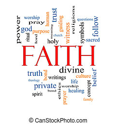 Faith Word Cloud Concept with great terms such as power, worshiop, spirit, divine and more.