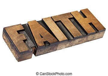faith word in wood type - faith - isolated text in vintage...