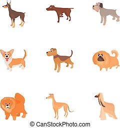 Faithful friend dog icons set, cartoon style