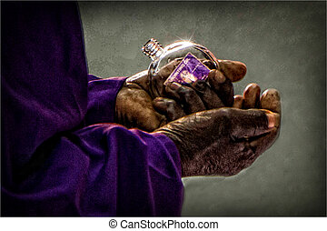 Faithful Hands - close up photo of a black Pastor or...