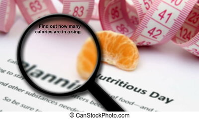 faits, verre, magnifier, nutrition
