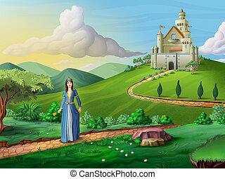 Faity tales castle and princess