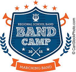 faixa, acampamento, emblema