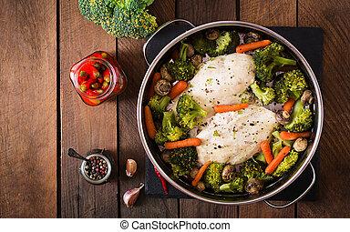 faixa galinha, com, legumes, steamed., vista superior
