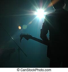 faixa, guitarrista, estouro