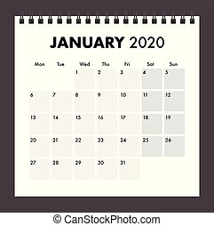 faixa, janeiro, fio, 2020, calendário