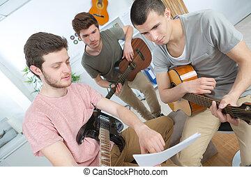 faixa, música, rehearsing, lar