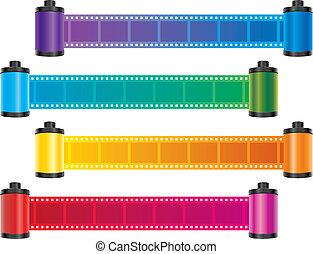 faixa película, cor, vetorial