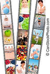 faixa película, montagem, homens, &, mulheres, dieta...