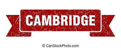 faixa, ribbon., vermelho, sinal, grunge, cambridge