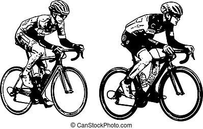 faj, biciklisták, skicc, ábra