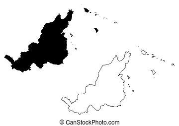 Fajardo municipality (Commonwealth of Puerto Rico, Porto Rico, PR, Unincorporated territories of the United States) map vector illustration, scribble sketch Fajardo map