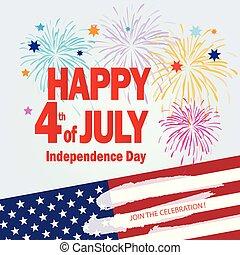 fajerwerki, 4 lipca, dzień, niezależność, szczęśliwy