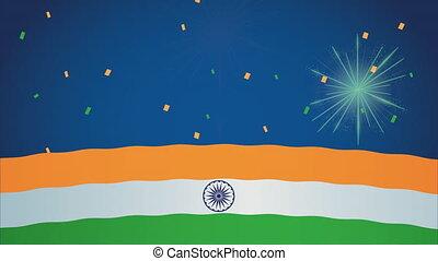 fajerwerki, bandera, niezależność, indie, dzień