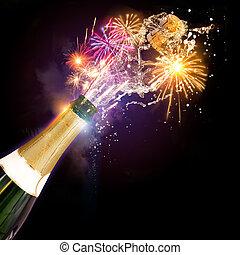 fajerwerki, celebrowania, szampan, &