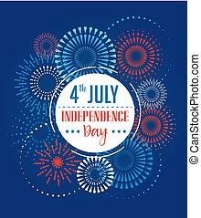 fajerwerki, kolor, lipiec, 4, amerykanka, chorągwie, plamy, tło, wstążki, dzień, niezależność, celebrowanie