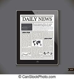 faji, számítógép, napi, tabletta, hír