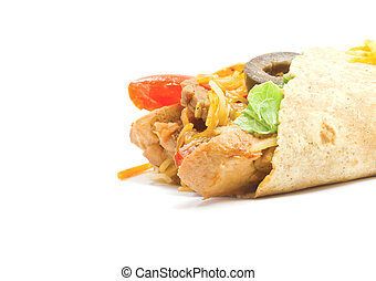 Fajita close up - A close up of a beef and chicken fajita...