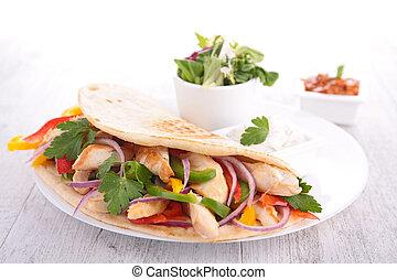 fajita, tortilla wrap