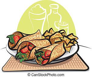 fajitas, a, nachos, pomfrity