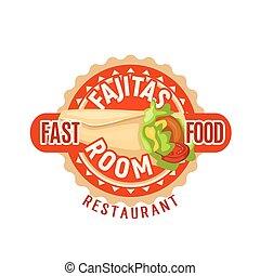 Fajitas Mexican fast food restaurant vector icon