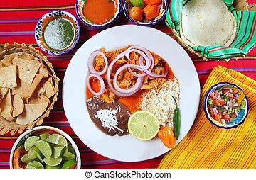 fajitas, mexican táplálék, noha, rizs, frijoles, csilipaprika, szósz