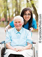 fajta, ápoló, és, öregedő, hölgy